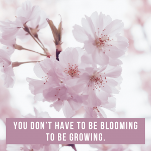 You don't have to be blooming to be growing